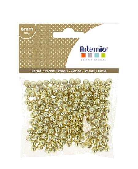 perles dorées D6mm/30grs plastique