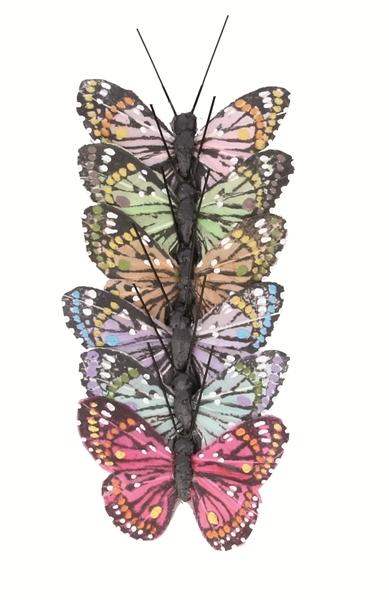 papillonsx6 sur tige couleurs diverses