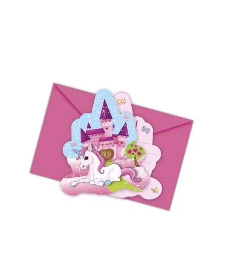 cartes d`invitationx6 licorne