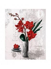 image 3D/24x30cm orchidées rouge