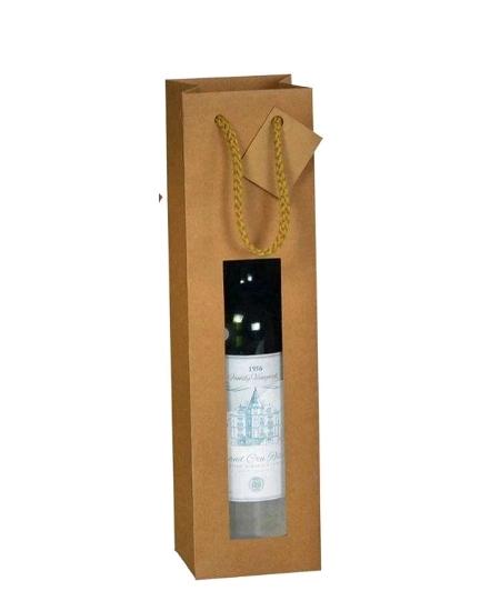 sac bouteille 10+9x38cm kraft brun