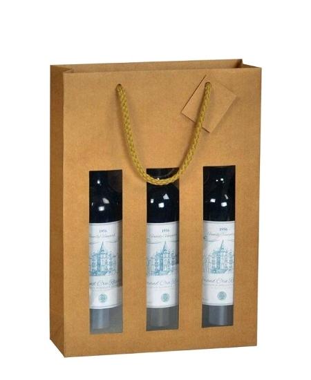 sac bouteille 27+8.8x38cm kraft brun