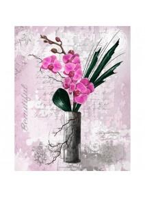 image 3D/24x30cm orchidées rose