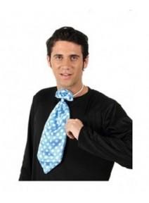 cravate bleu maxi à pois blanc