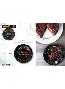 assiettesx6/D23cm joyeux anniversaire