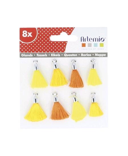 mini pomponsx8 jaune orange H2cm
