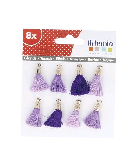 mini pomponsx8 mauve violet H2cm