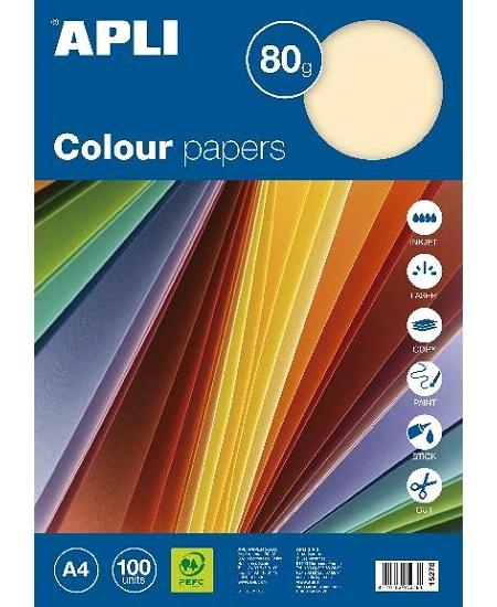 feuillesx100/80grs assortis pastel A4