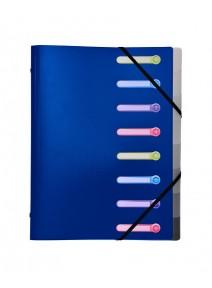 trieur bleu 8 comp. A4 à rabats