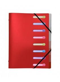 trieur rouge 8 comp. A4 à rabats