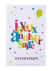 cartes d`invitationsx6 anniversaire