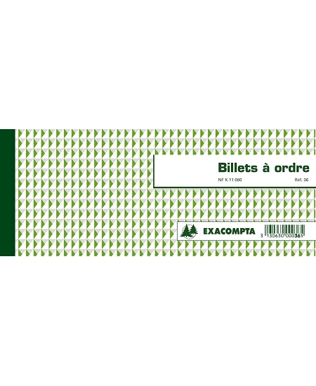 billets à ordre 21cmx10.1xcm