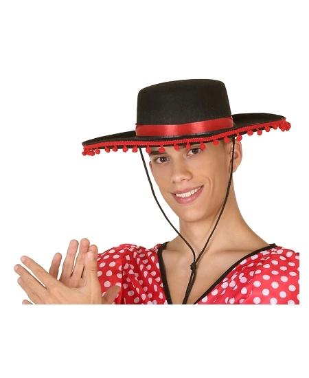 chapeau espagnol avec boules rouges