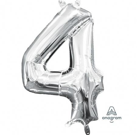 ballon chiffre 4 AIR H36cm argent