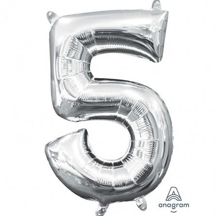 ballon chiffre 5 AIR H36cm argent
