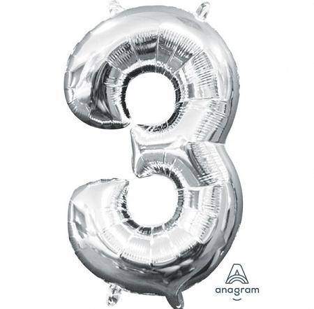 ballon chiffre 3 AIR H36cm argent