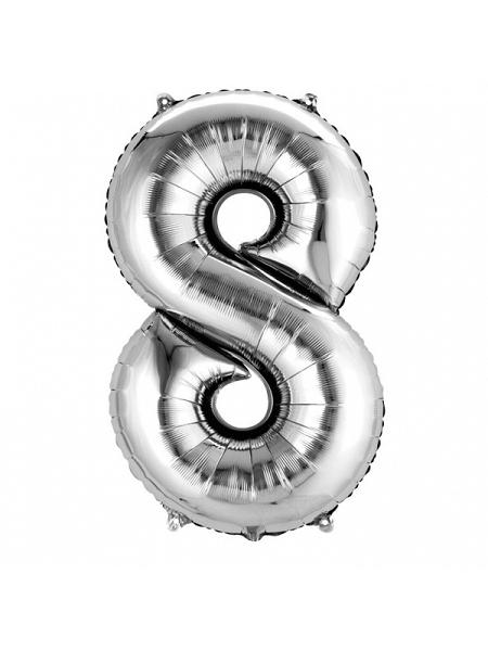 ballon chiffre 8/H86cm argenté