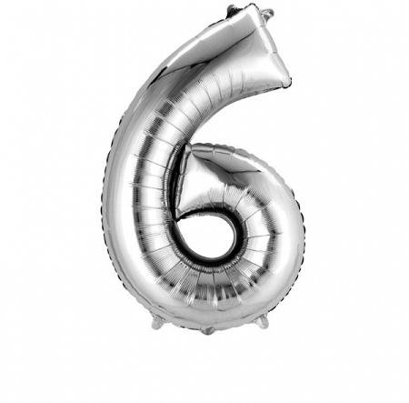 ballon chiffre 6/H86cm argenté